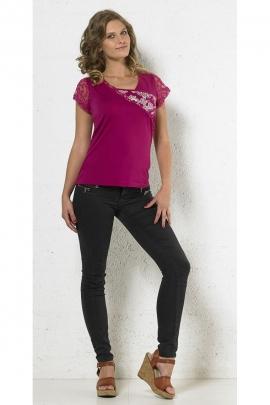 Tee-shirt original uni, manches en dentelle, moderne et stylé