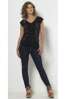 Black t-shirt chic cotton and polyester, V-neck collar, short sleeves, printed equal colorful