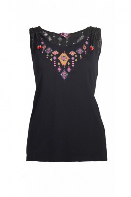 T-shirt tank top cotton spandex with beads hanging down and printed collar Aztec