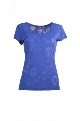 Tee-shirt coloré à manches courtes, effet dévoré royal