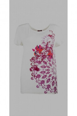Camiseta casual de manga corta, impreso primavera mandala y flores