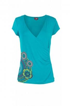 Camiseta original y casual, con mangas cortas y cuello en V, drapeado en la cadera