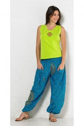 Tee-shirt débardeur en coton extensible, surpiqûres et imprimé central coloré