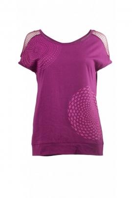 Tee-shirt en coton, manches courtes et col rond, dentelle fine aux épaules