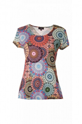 T-shirt ethnic, casual, short sleeves, printed circulars