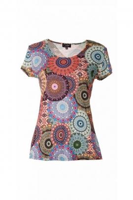 Tee-shirt ethnique et décontracté, manches courtes, imprimés circulaires