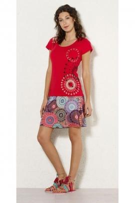 Tee-shirt décontracté original, rosaces aux épaules et sur la hanche