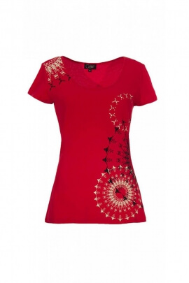 T-shirt casual original, rosettes on the shoulders and on the hip
