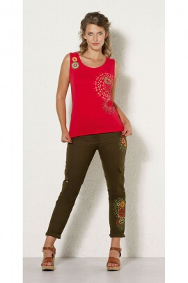 Cotton tank top casual, rosettes and patch floral colorful