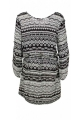 Tunic dress black and white, cup-hat, style hippie chic