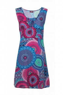 Short dress casual, original, laces and smocking, look hippie chic