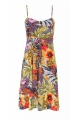 Short dress colorful and original, thin straps and patterned savannah