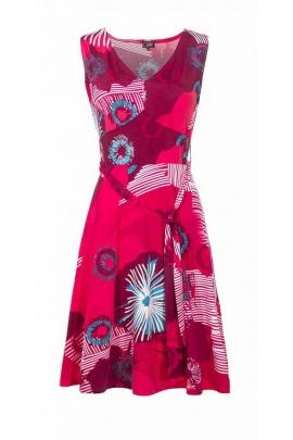 Robe sans manche chic et originale, mi-longue, motifs feu d'artifice colorés