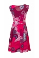 Gown sleeveless chic and original, mid-long, patterned fireworks colorful