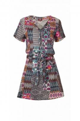 Robe tunique légère et fluide col V, lacet à la taille et sur le buste, imprimé ethnique