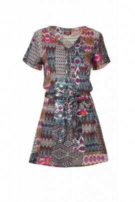 Tunic dress light and fluid V-neck, lace at the waist and on the bust, printed ethnic