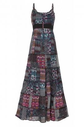 Robe longue indienne hippie chic, en voile de coton doublée, motif ethnique