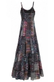 Long dress indian hippie chic cotton voile lined, motif ethnic