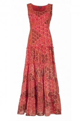 Robe longue indienne décontractée, en voile de coton doublé et volants