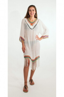Tunic poncho for beach embroidered, fringed Woodstock casual