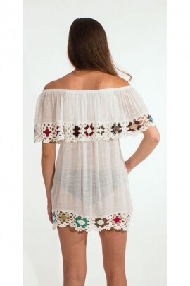 Tunic poncho ethnic beach, macrame with embroidery, colourful, hippie chic