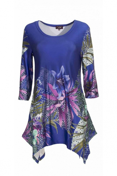 Tunic for evening with leading-edge, stylish, chic patterns japonisants colorful