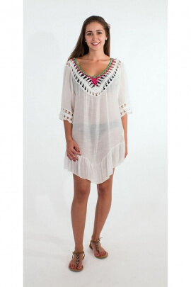 Tunic poncho beach hippie chic macramé, bare backs, and tassels ethnic