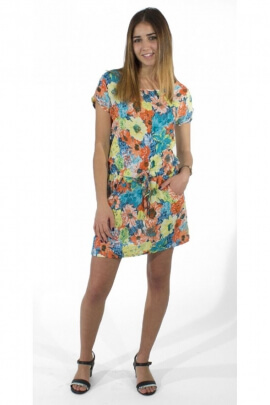 Dress original casual, printed flowers, style impressionism