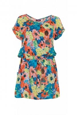 Robe originale décontractée, imprimée fleurs, style impressionnisme