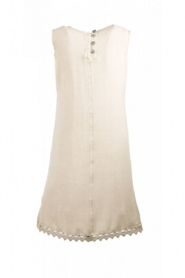 Dress viscose, original and laid-back, stone wash, embroidery and round neck