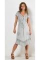 Dress hippie chic viscose, stone wash, embroidery and lace-up neckline