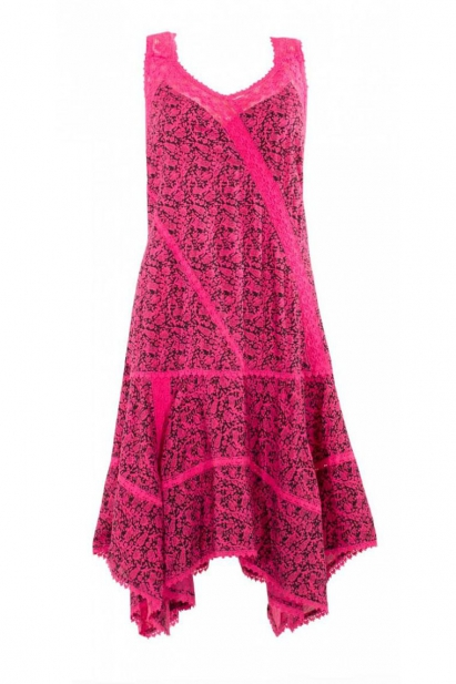 Dress with asymmetrical skirt, shoulder straps and lace, pattern ethnic colorful