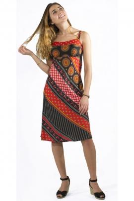 Robe ethnique hippie chic, fines bretelles, tissu sari original en biais