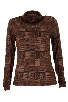 T-shirt col roulé maille jersey imprimé carreaux