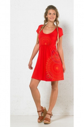 Short dress ethnic, serging and knits under bust, printed hippie chic