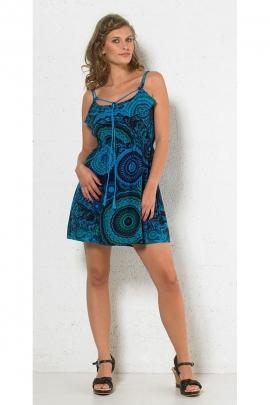 Bonito vestido original, cordón para atar y pequeños volantes de inercia, patrón circular de colores