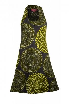 Minivestido negro casual de algodón, escote de cuello redondo, ultra romántico