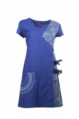 Wrap dress original with laces, printed aborigine colorful, cotton