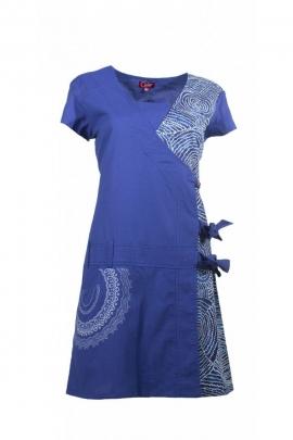 Wrap dress original with laces, printed aborigine colorful, cotton