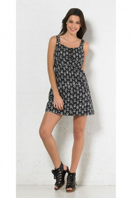 Minidress casual and black and white, printed, multiple stitching and buttons