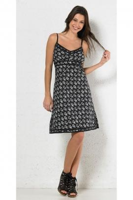 Minivestido negro de algodón, patrón barroco manchado, el estilo hippie chic