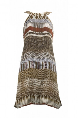 Robe hippie chic originale, tour du cou foulard à nouer au dos