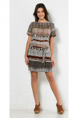 Dress ethnic casual, printed, psychedelic, belt at the waist