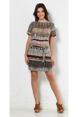 Robe ethnique décontractée, imprimée psychédélique, ceinture à la taille