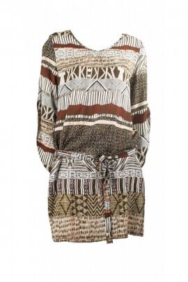 Dress ethnic casual, printed african, belt at the waist