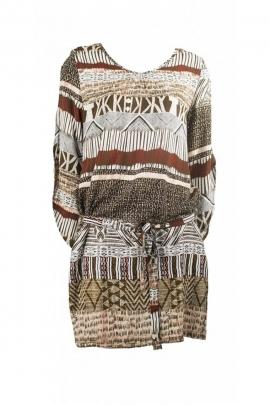 Robe ethnique décontractée, imprimé africain, ceinture à la taille