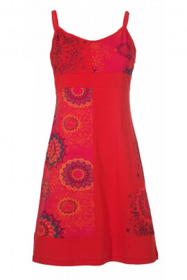 Robe patchwork hippie chic en coton, bretelles réglables et rosaces
