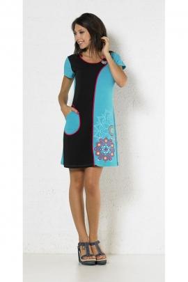 Robe courte chic bicolore, impressions florales, style décontracté