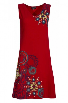 Short dress hippie chic sleeveless printed ethnic original