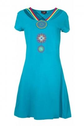 Robe hippie chic fantaisie originale, motifs mayas, en coton